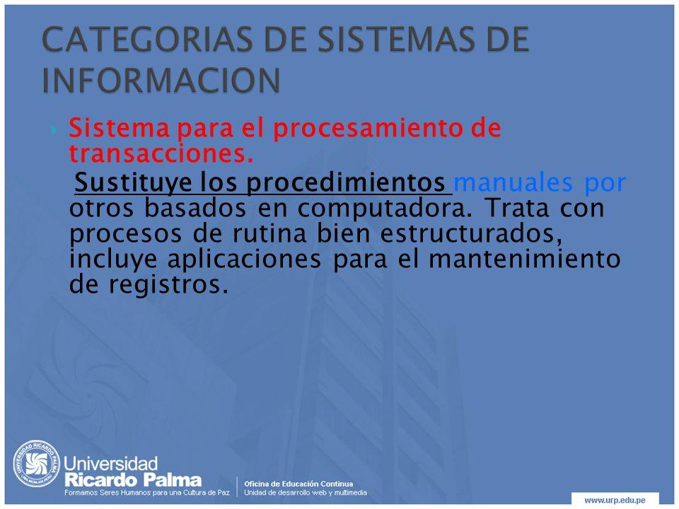 Sistema para el procesamiento de transacciones. Sustituye los procedimientos manuales por otros basados en computadora. Trata con procesos de rutina b