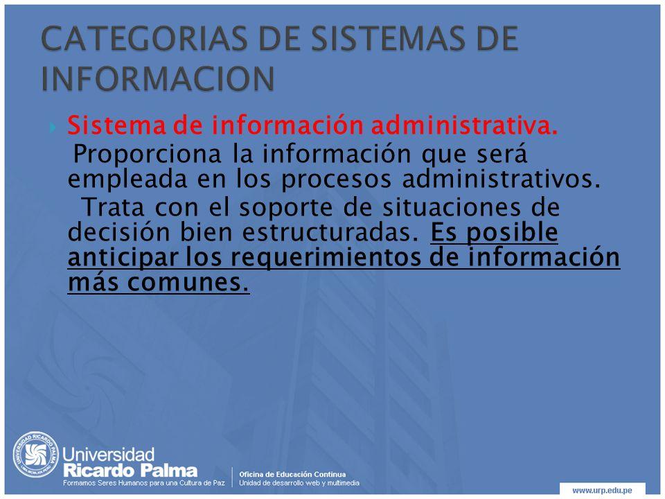 Sistema de información administrativa. Proporciona la información que será empleada en los procesos administrativos. Trata con el soporte de situacion