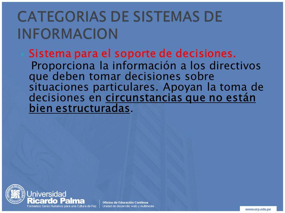Sistema para el soporte de decisiones. Proporciona la información a los directivos que deben tomar decisiones sobre situaciones particulares. Apoyan l