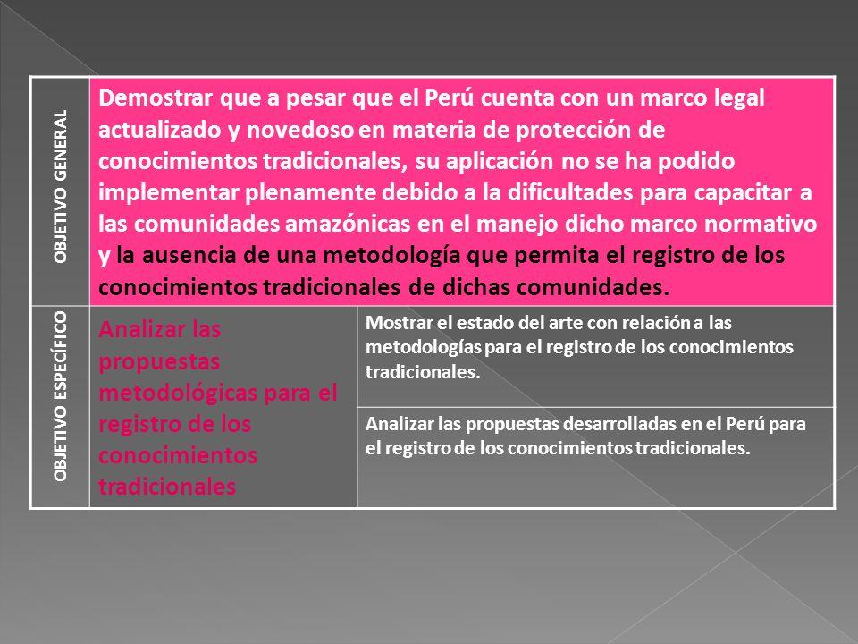 Demostrar que a pesar que el Perú cuenta con un marco legal actualizado y novedoso en materia de protección de conocimientos tradicionales, su aplicac