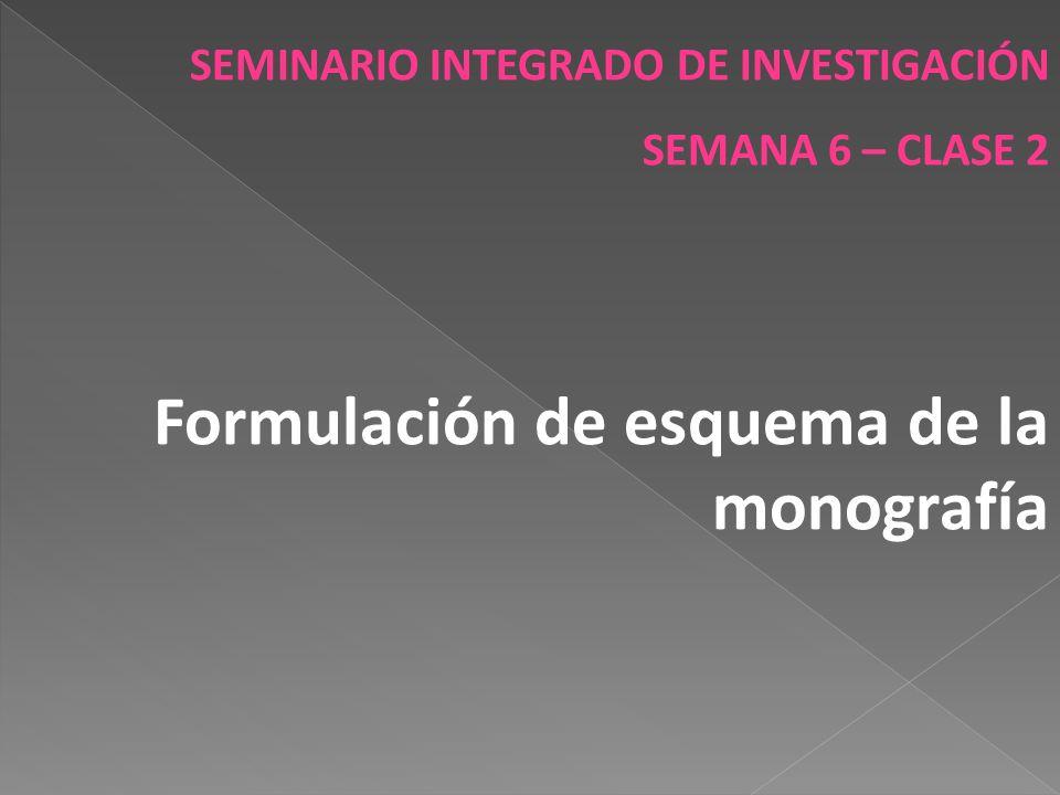 SEMINARIO INTEGRADO DE INVESTIGACIÓN SEMANA 6 – CLASE 2 Formulación de esquema de la monografía