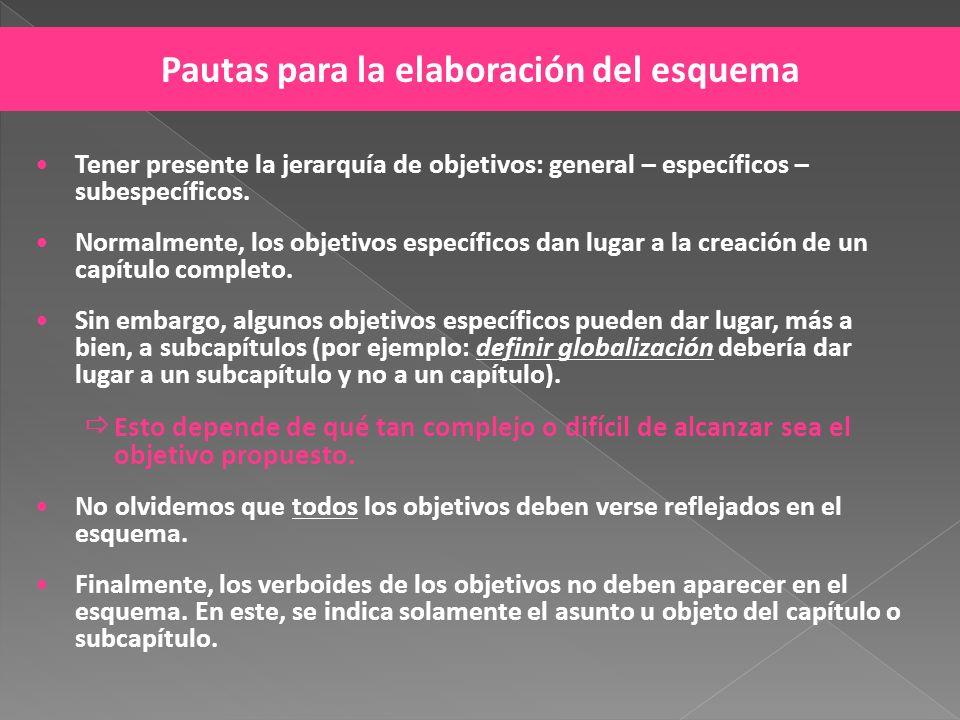 Tener presente la jerarquía de objetivos: general – específicos – subespecíficos. Normalmente, los objetivos específicos dan lugar a la creación de un