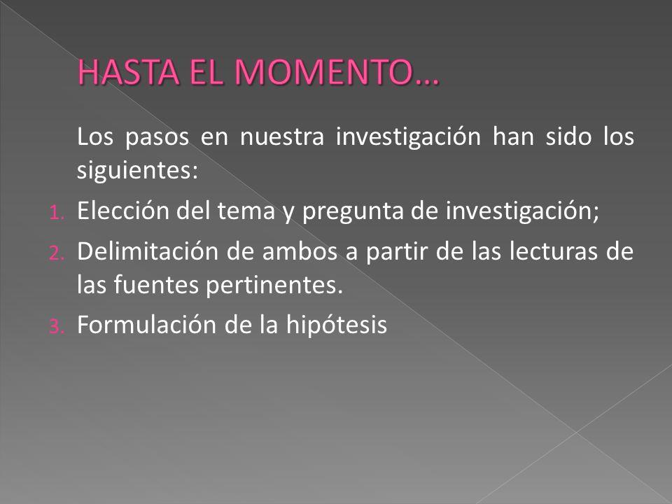 Los pasos en nuestra investigación han sido los siguientes: 1. Elección del tema y pregunta de investigación; 2. Delimitación de ambos a partir de las