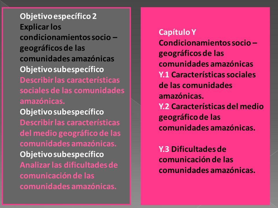 Objetivo específico 2 Explicar los condicionamientos socio – geográficos de las comunidades amazónicas Objetivo subespecífico Describir las caracterís