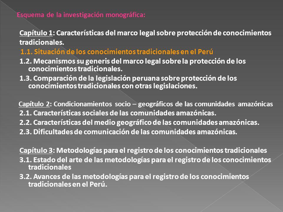 Esquema de la investigación monográfica: Capítulo 1: Características del marco legal sobre protección de conocimientos tradicionales. 1.1. Situación d