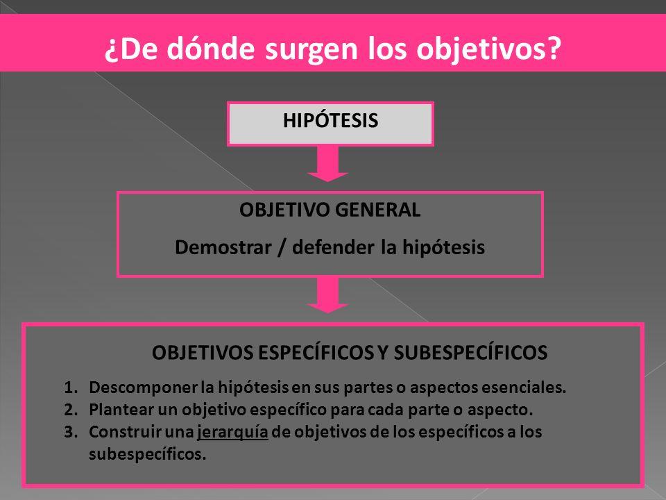 HIPÓTESIS OBJETIVO GENERAL Demostrar / defender la hipótesis OBJETIVOS ESPECÍFICOS Y SUBESPECÍFICOS 1.Descomponer la hipótesis en sus partes o aspecto
