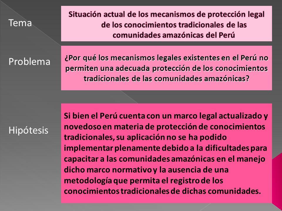 OBJETIVO GENERAL OBJETIVO ESPECÍFICO Demostrar que a pesar que el Perú cuenta con un marco legal actualizado y novedoso en materia de protección de conocimientos tradicionales, su aplicación no se ha podido implementar plenamente debido a las dificultades para capacitar a las comunidades amazónicas en el manejo dicho marco normativo y la ausencia de una metodología que permita el registro de los conocimientos tradicionales de dichas comunidades.
