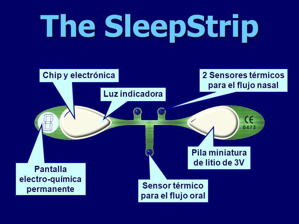 The SleepStrip 2 Sensores térmicos para el flujo nasal Sensor térmico para el flujo oral Pila miniatura de litio de 3V Chip y electrónica Luz indicado