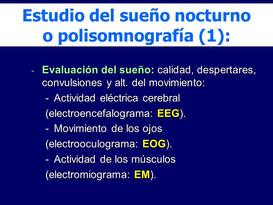 - Evaluación del sueño: calidad, despertares, convulsiones y alt. del movimiento: -Actividad eléctrica cerebral (electroencefalograma: EEG). -Movimien