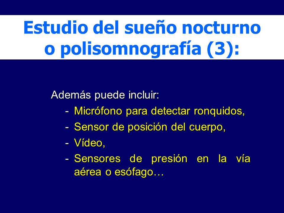 Además puede incluir: -Micrófono para detectar ronquidos, -Sensor de posición del cuerpo, -Vídeo, -Sensores de presión en la vía aérea o esófago… Estu