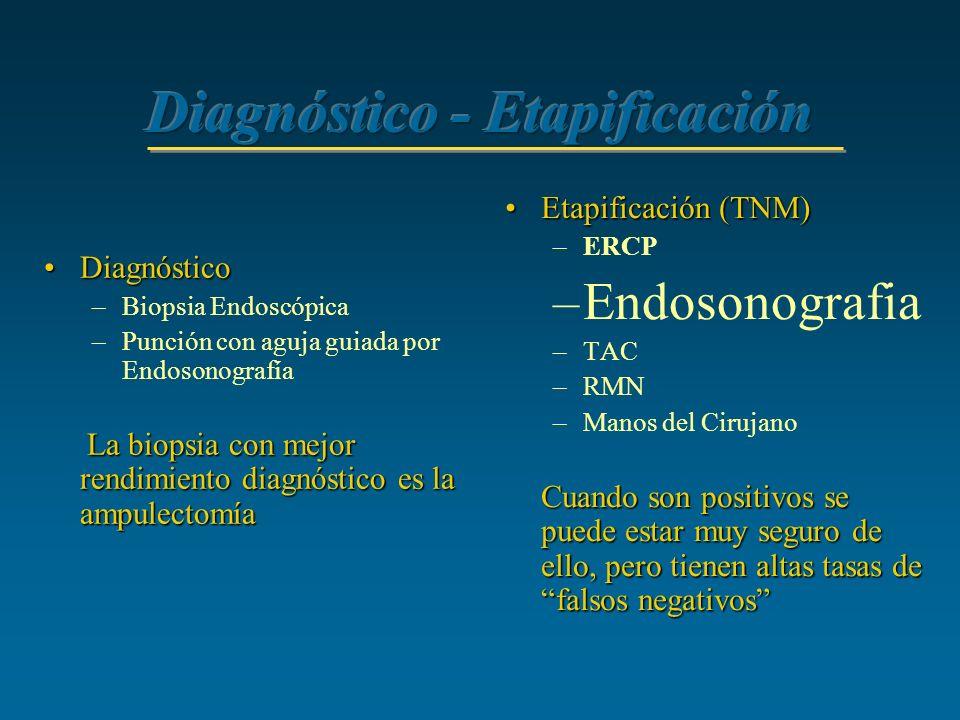 DiagnósticoDiagnóstico –Biopsia Endoscópica –Punción con aguja guiada por Endosonografía La biopsia con mejor rendimiento diagnóstico es la ampulectom