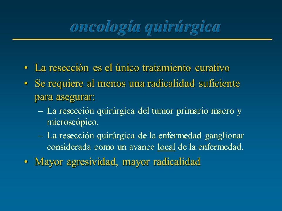 La resección es el único tratamiento curativoLa resección es el único tratamiento curativo Se requiere al menos una radicalidad suficiente para asegur