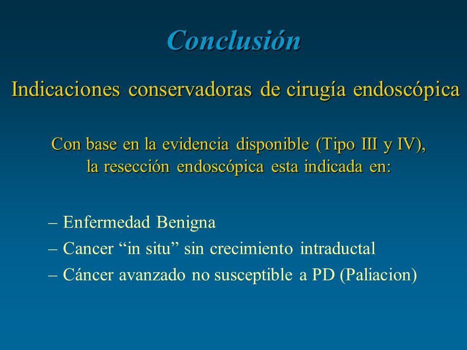 Conclusión Con base en la evidencia disponible (Tipo III y IV), la resección endoscópica esta indicada en: –Enfermedad Benigna –Cancer in situ sin cre