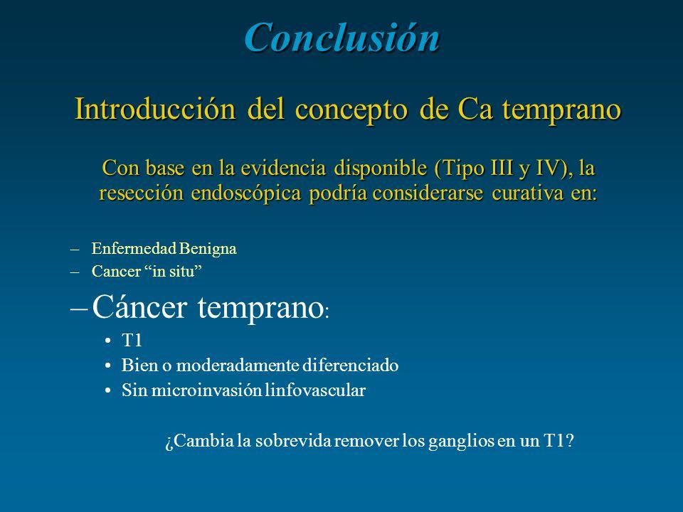 Conclusión Con base en la evidencia disponible (Tipo III y IV), la resección endoscópica podría considerarse curativa en: –Enfermedad Benigna –Cancer