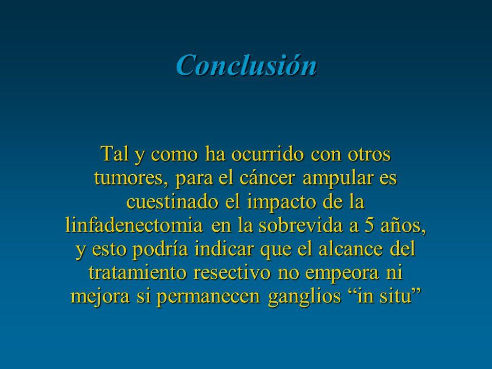 Conclusión Tal y como ha ocurrido con otros tumores, para el cáncer ampular es cuestinado el impacto de la linfadenectomia en la sobrevida a 5 años, y