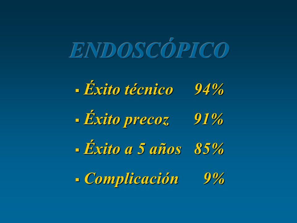 Éxito técnico 94% Éxito técnico 94% Éxito precoz 91% Éxito precoz 91% Éxito a 5 años 85% Éxito a 5 años 85% Complicación 9% Complicación 9%