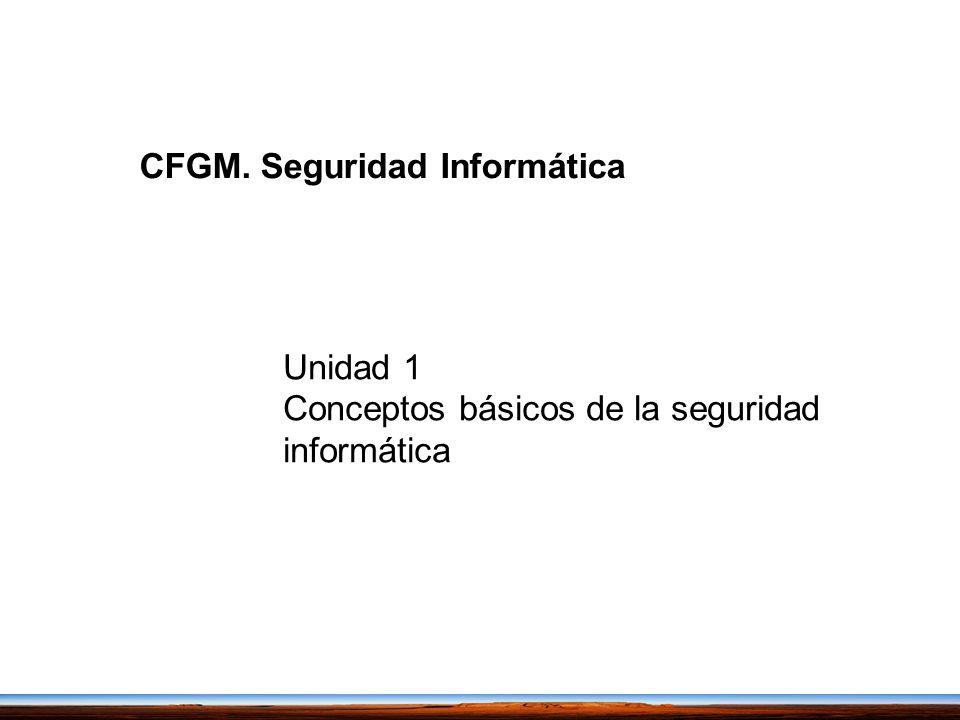 Unidad 1 Conceptos básicos de la seguridad informática CFGM. Seguridad Informática