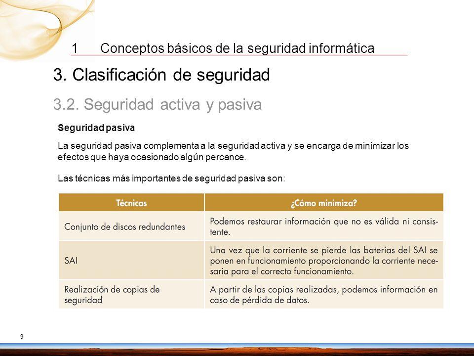 1 Conceptos básicos de la seguridad informática 8 3. Clasificación de seguridad 3.2. Seguridad activa y pasiva Seguridad activa La seguridad activa la
