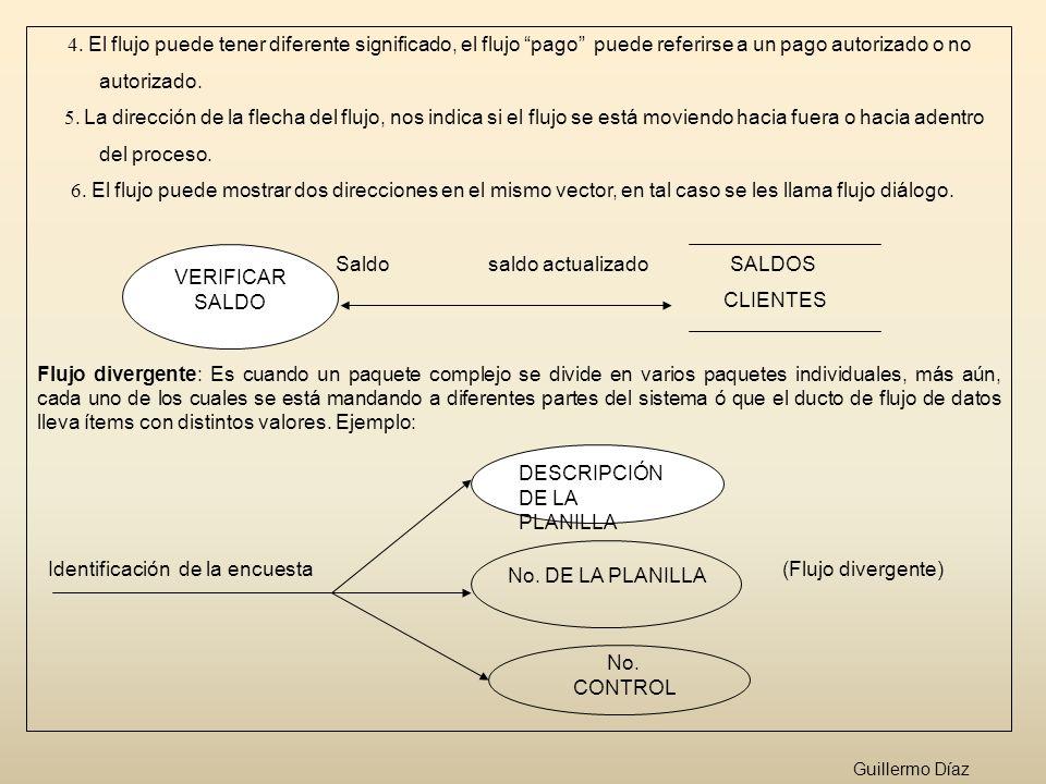 4. El flujo puede tener diferente significado, el flujo pago puede referirse a un pago autorizado o no autorizado. 5. La dirección de la flecha del fl