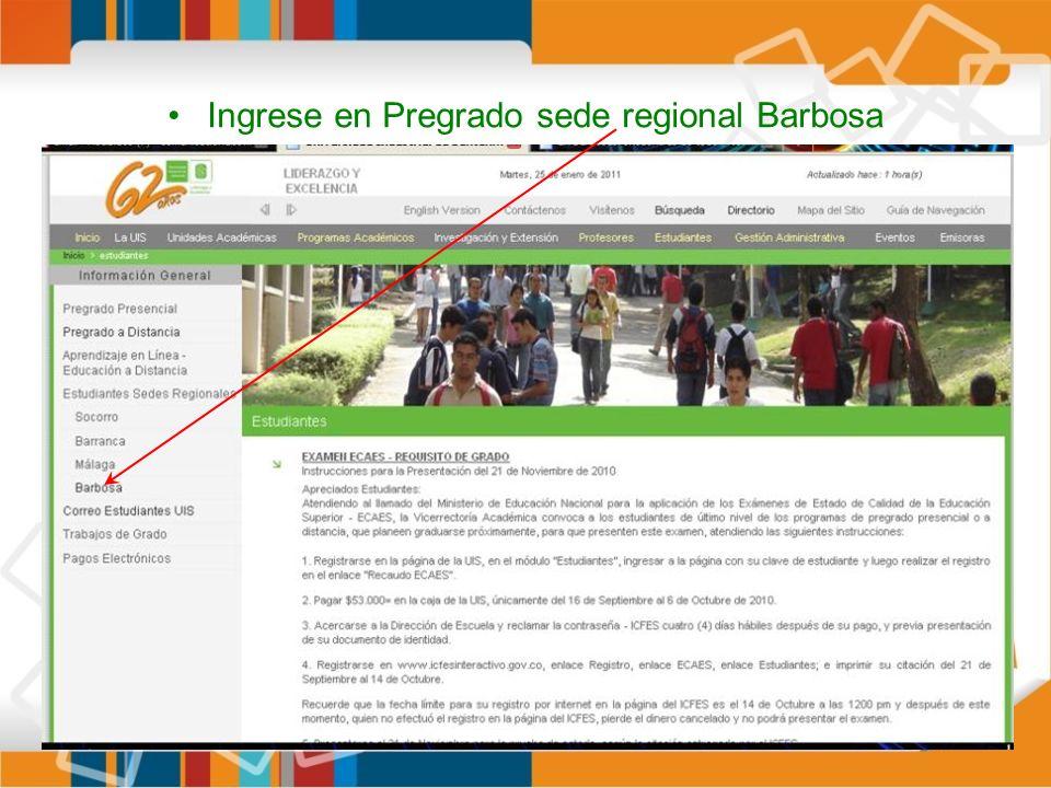 Ingrese en Pregrado sede regional Barbosa