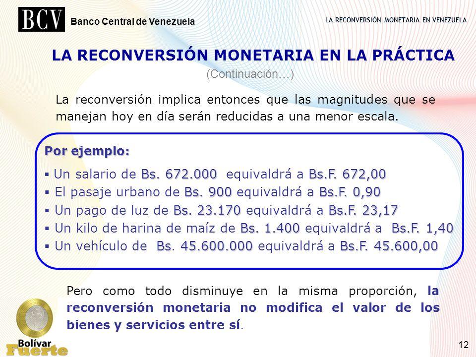 LA RECONVERSIÓN MONETARIA EN VENEZUELA Banco Central de Venezuela 12 La reconversión implica entonces que las magnitudes que se manejan hoy en día ser
