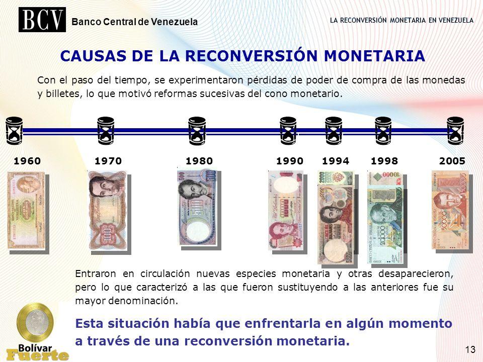 LA RECONVERSIÓN MONETARIA EN VENEZUELA Banco Central de Venezuela 13 CAUSAS DE LA RECONVERSIÓN MONETARIA Entraron en circulación nuevas especies monet