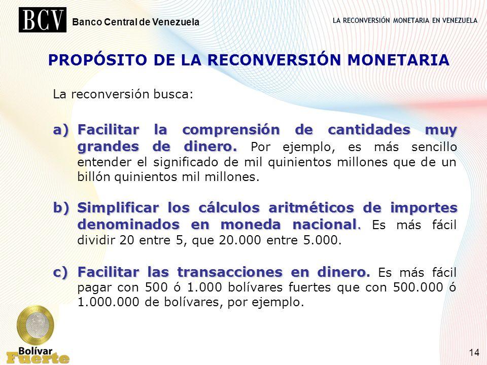LA RECONVERSIÓN MONETARIA EN VENEZUELA Banco Central de Venezuela 14 PROPÓSITO DE LA RECONVERSIÓN MONETARIA La reconversión busca: a)Facilitar la comp