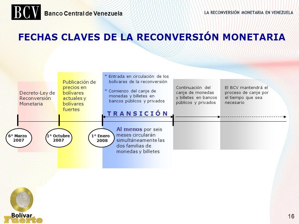LA RECONVERSIÓN MONETARIA EN VENEZUELA Banco Central de Venezuela 16 FECHAS CLAVES DE LA RECONVERSIÓN MONETARIA 1° Octubre 2007 Publicación de precios