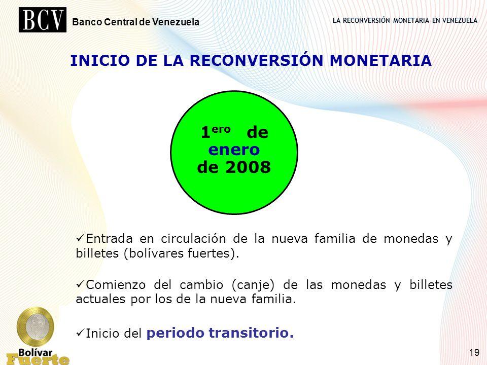 LA RECONVERSIÓN MONETARIA EN VENEZUELA Banco Central de Venezuela 19 1 ero de enero de 2008 Entrada en circulación de la nueva familia de monedas y bi