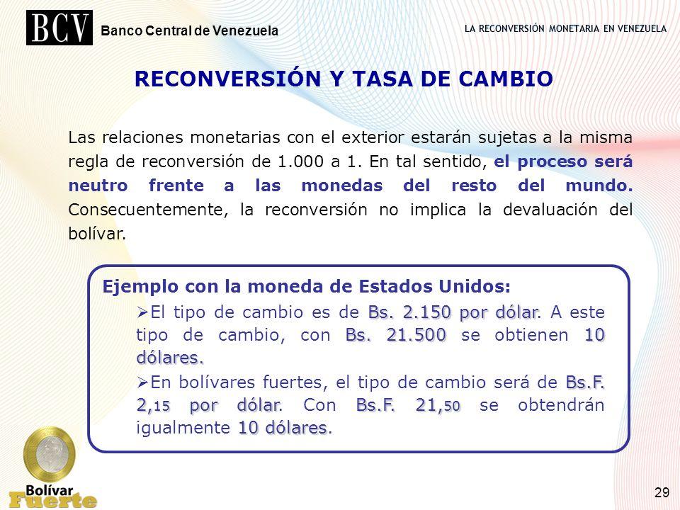 LA RECONVERSIÓN MONETARIA EN VENEZUELA Banco Central de Venezuela 29 RECONVERSIÓN Y TASA DE CAMBIO Las relaciones monetarias con el exterior estarán s