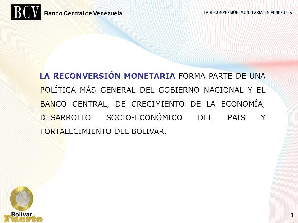 LA RECONVERSIÓN MONETARIA EN VENEZUELA Banco Central de Venezuela 3 LA RECONVERSIÓN MONETARIA FORMA PARTE DE UNA POLÍTICA MÁS GENERAL DEL GOBIERNO NAC