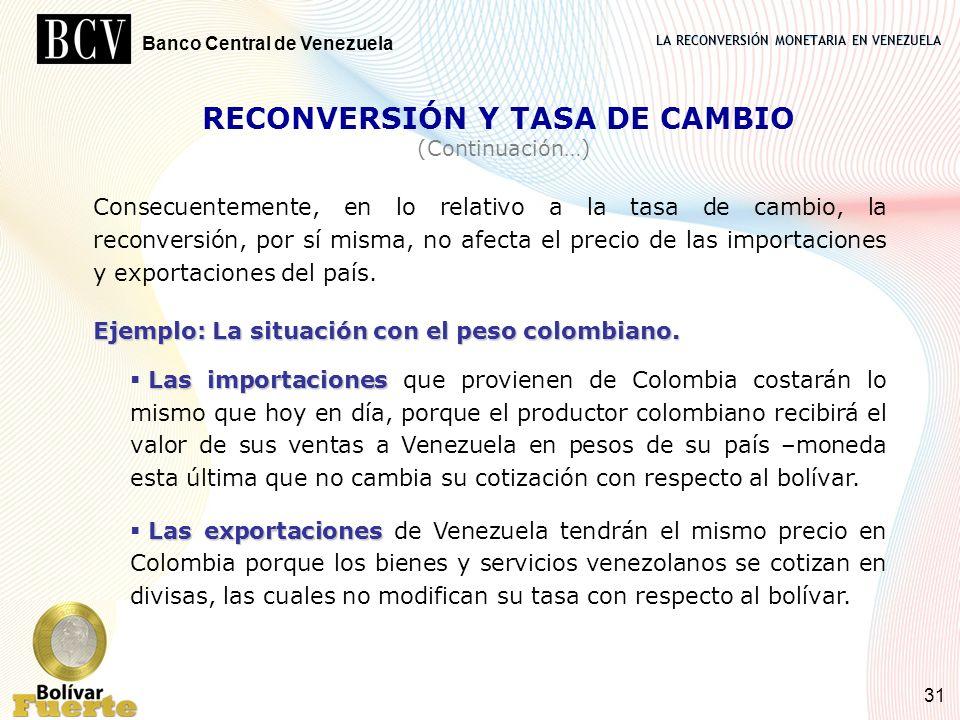 LA RECONVERSIÓN MONETARIA EN VENEZUELA Banco Central de Venezuela 31 RECONVERSIÓN Y TASA DE CAMBIO (Continuación…) Consecuentemente, en lo relativo a