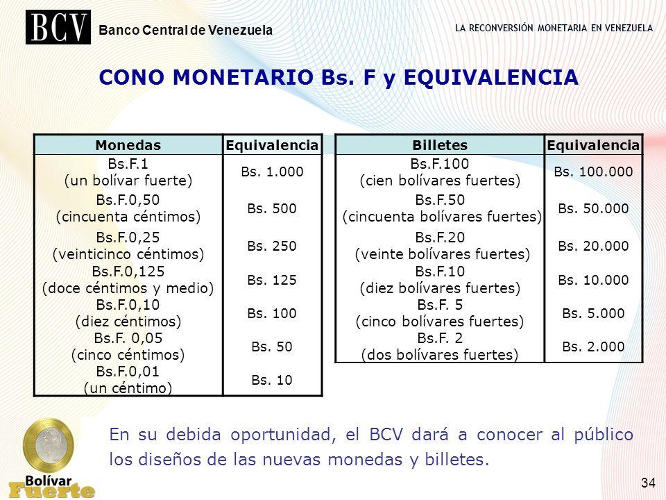 LA RECONVERSIÓN MONETARIA EN VENEZUELA Banco Central de Venezuela 34 CONO MONETARIO Bs. F y EQUIVALENCIA MonedasEquivalenciaBilletesEquivalencia Bs.F.