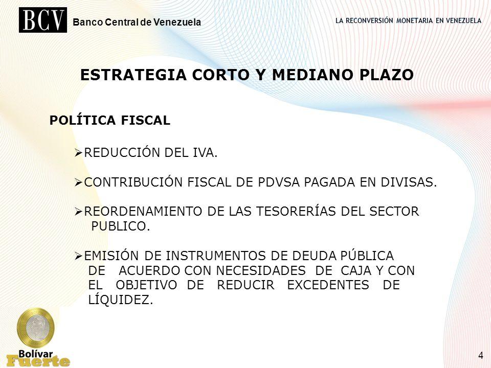 LA RECONVERSIÓN MONETARIA EN VENEZUELA Banco Central de Venezuela 4 ESTRATEGIA CORTO Y MEDIANO PLAZO POLÍTICA FISCAL REDUCCIÓN DEL IVA. CONTRIBUCIÓN F