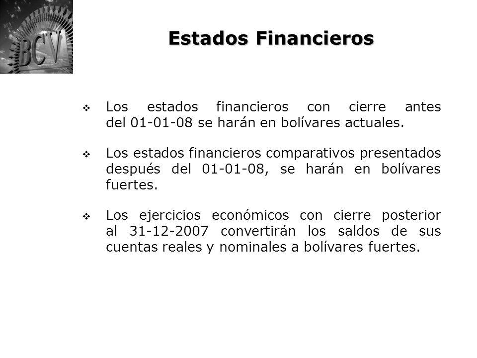 Estados Financieros Los estados financieros con cierre antes del 01-01-08 se harán en bolívares actuales. Los estados financieros comparativos present