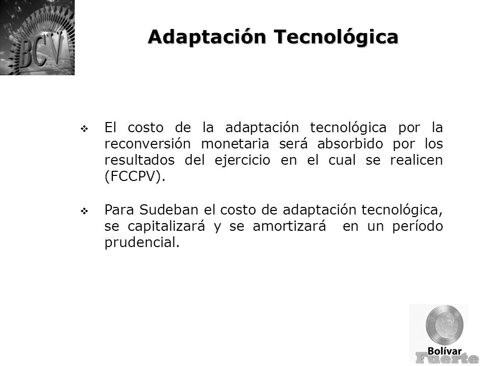 Adaptación Tecnológica El costo de la adaptación tecnológica por la reconversión monetaria será absorbido por los resultados del ejercicio en el cual