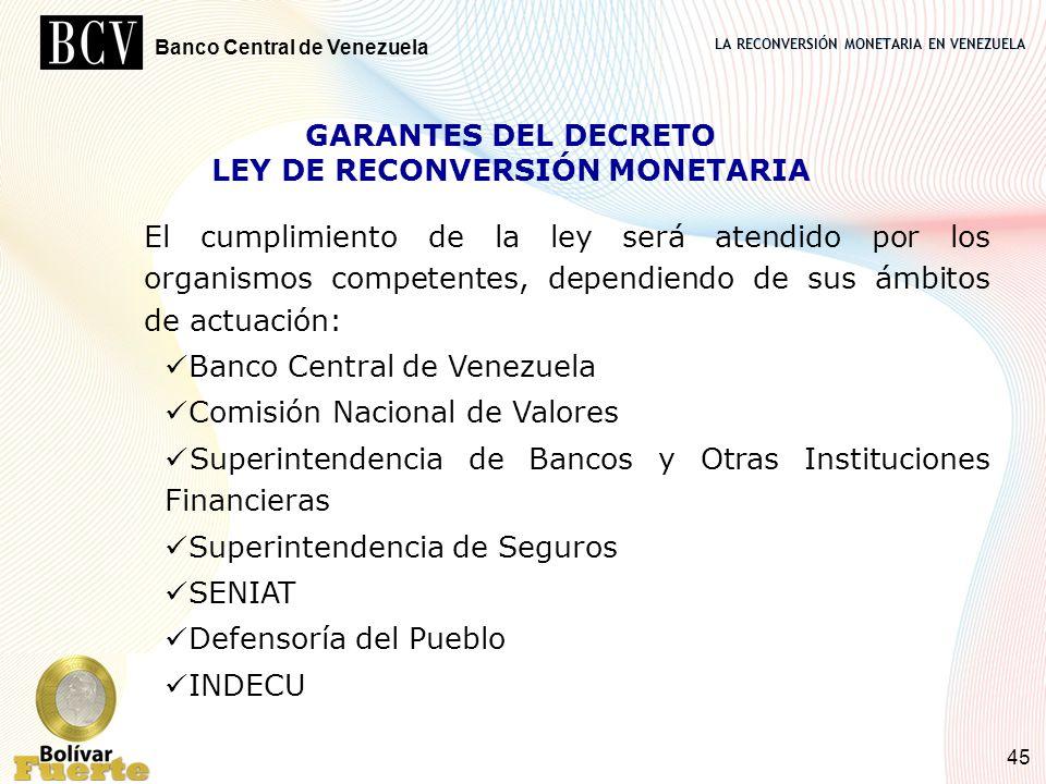 LA RECONVERSIÓN MONETARIA EN VENEZUELA Banco Central de Venezuela 45 GARANTES DEL DECRETO LEY DE RECONVERSIÓN MONETARIA El cumplimiento de la ley será