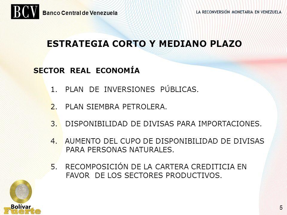 LA RECONVERSIÓN MONETARIA EN VENEZUELA Banco Central de Venezuela 5 SECTOR REAL ECONOMÍA 1. PLAN DE INVERSIONES PÚBLICAS. 2. PLAN SIEMBRA PETROLERA. 3