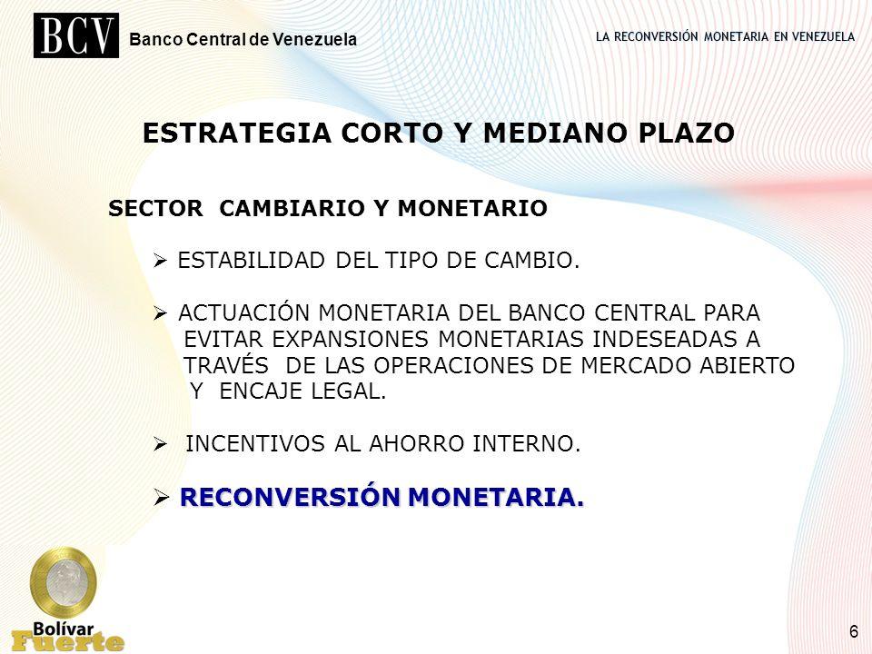 LA RECONVERSIÓN MONETARIA EN VENEZUELA Banco Central de Venezuela 6 SECTOR CAMBIARIO Y MONETARIO ESTABILIDAD DEL TIPO DE CAMBIO. ACTUACIÓN MONETARIA D