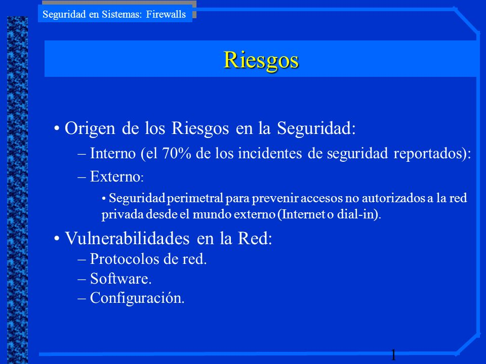 Seguridad en Sistemas: Firewalls 22 Internet DMZ Web Server Pool Red Interna ALERTA!.