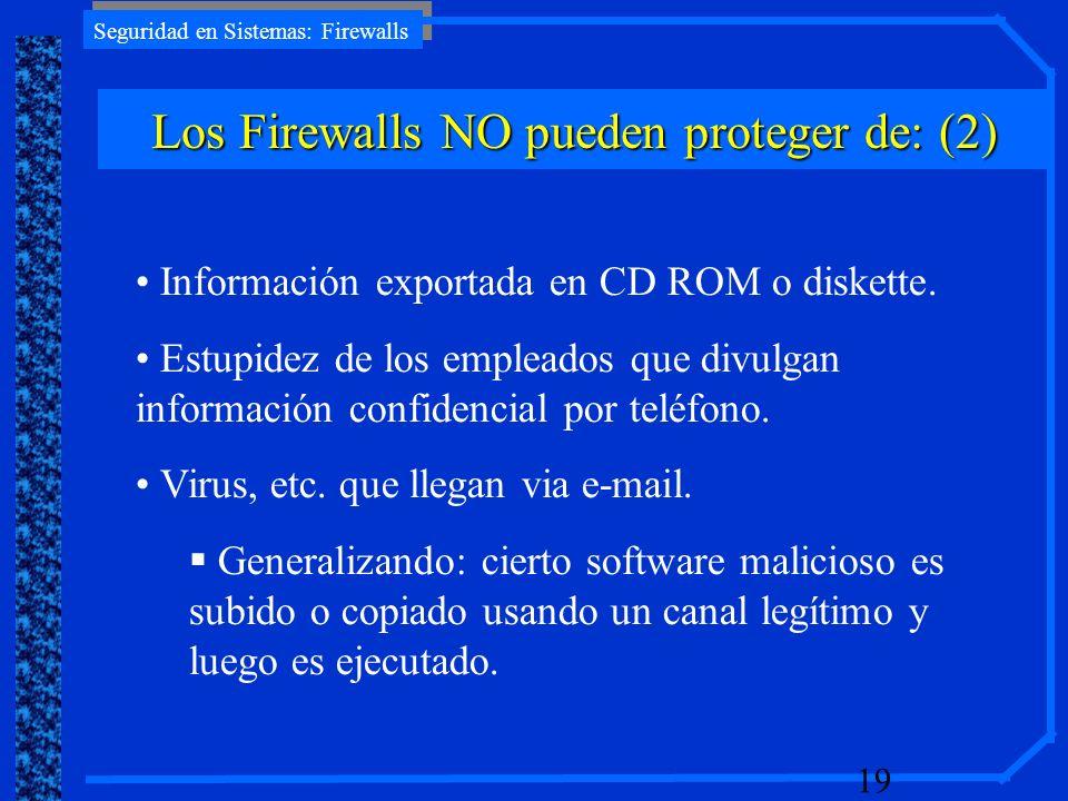 Seguridad en Sistemas: Firewalls 19 Información exportada en CD ROM o diskette. Estupidez de los empleados que divulgan información confidencial por t