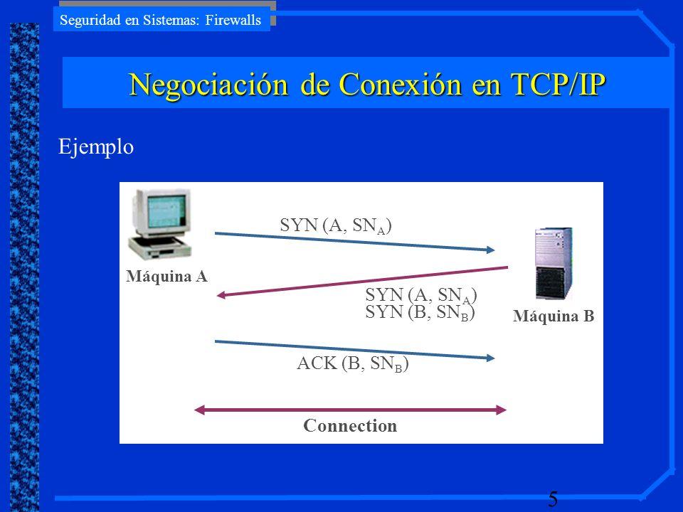 Seguridad en Sistemas: Firewalls 5 Máquina A Ejemplo SYN (A, SN A ) Máquina B SYN (A, SN A ) SYN (B, SN B ) ACK (B, SN B ) Connection Negociación de C