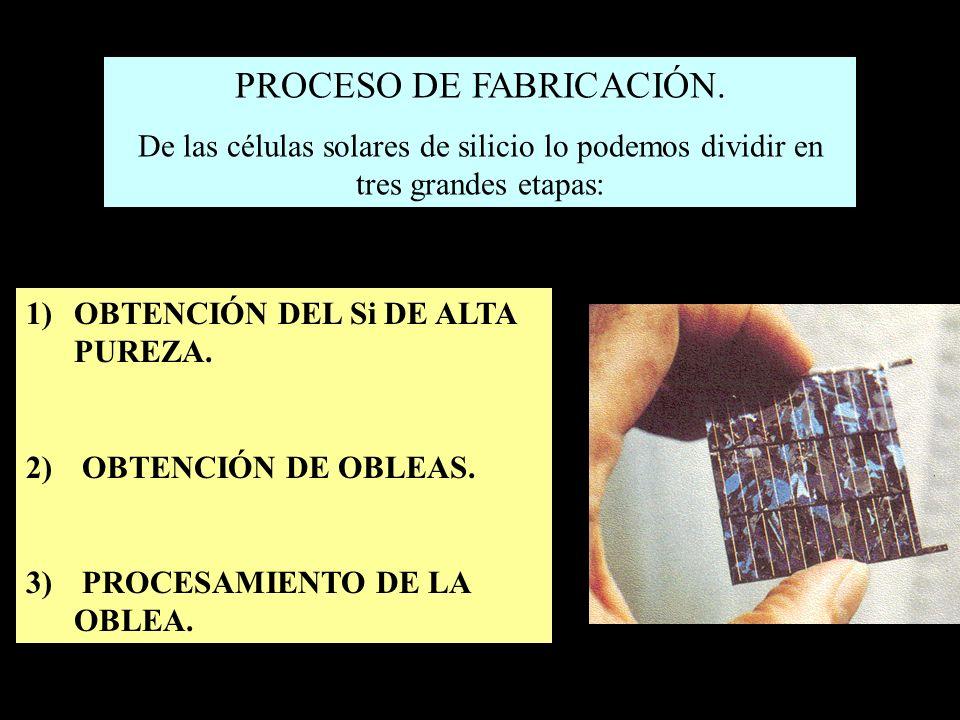 PROCESO DE FABRICACIÓN. De las células solares de silicio lo podemos dividir en tres grandes etapas: 1)OBTENCIÓN DEL Si DE ALTA PUREZA. 2) OBTENCIÓN D