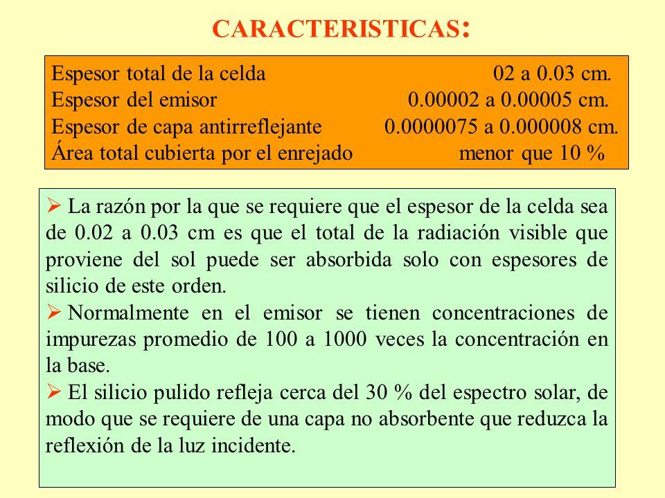 CARACTERISTICAS : Espesor total de la celda 02 a 0.03 cm. Espesor del emisor 0.00002 a 0.00005 cm. Espesor de capa antirreflejante 0.0000075 a 0.00000