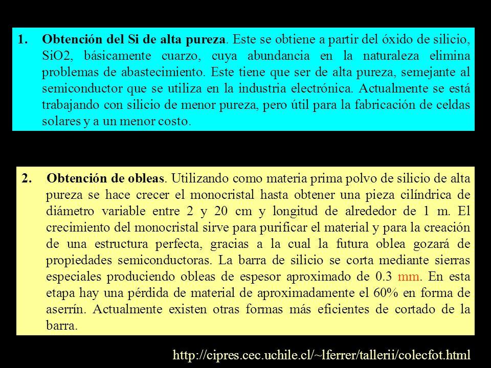 1.Obtención del Si de alta pureza. Este se obtiene a partir del óxido de silicio, SiO2, básicamente cuarzo, cuya abundancia en la naturaleza elimina p