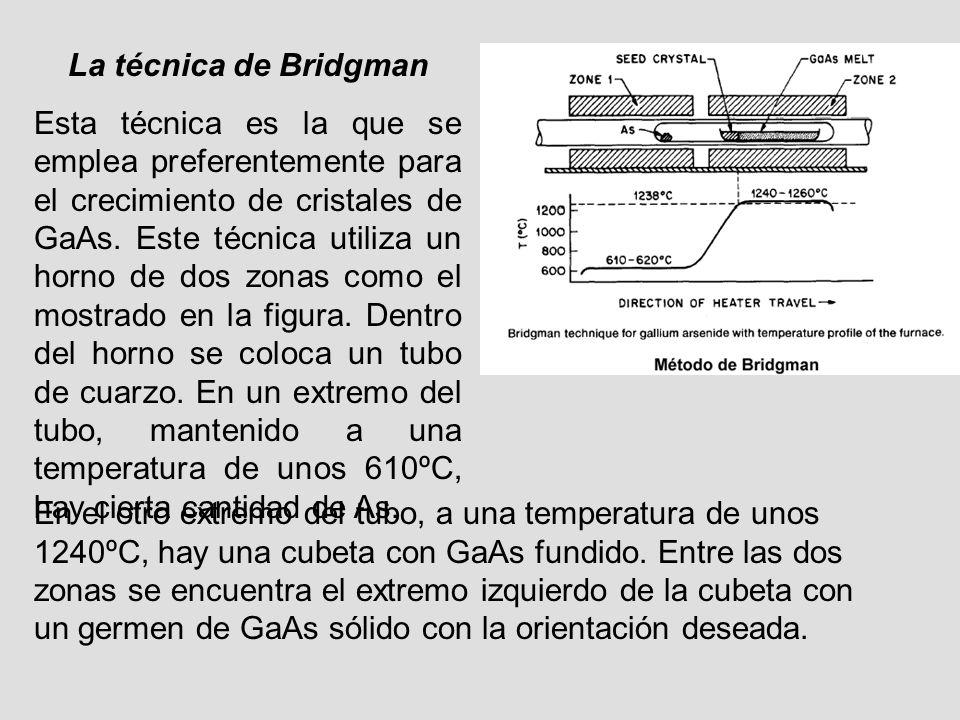 La técnica de Bridgman Esta técnica es la que se emplea preferentemente para el crecimiento de cristales de GaAs. Este técnica utiliza un horno de dos