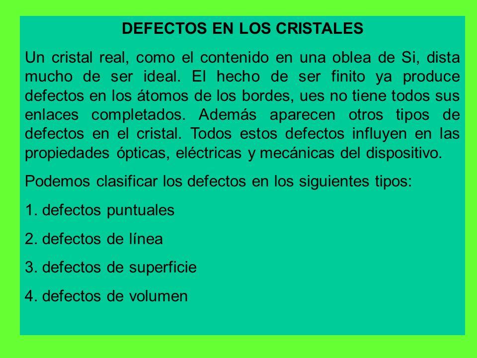 DEFECTOS EN LOS CRISTALES Un cristal real, como el contenido en una oblea de Si, dista mucho de ser ideal. El hecho de ser finito ya produce defectos