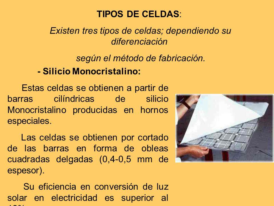 - Silicio Monocristalino: Estas celdas se obtienen a partir de barras cilíndricas de silicio Monocristalino producidas en hornos especiales. Las celda