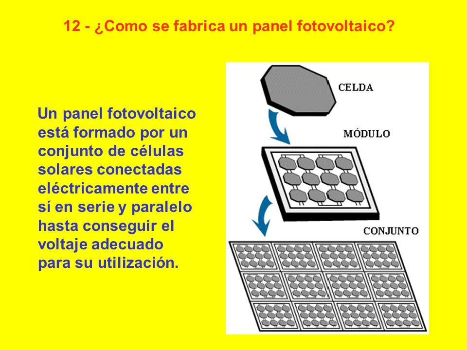 Un panel fotovoltaico está formado por un conjunto de células solares conectadas eléctricamente entre sí en serie y paralelo hasta conseguir el voltaj