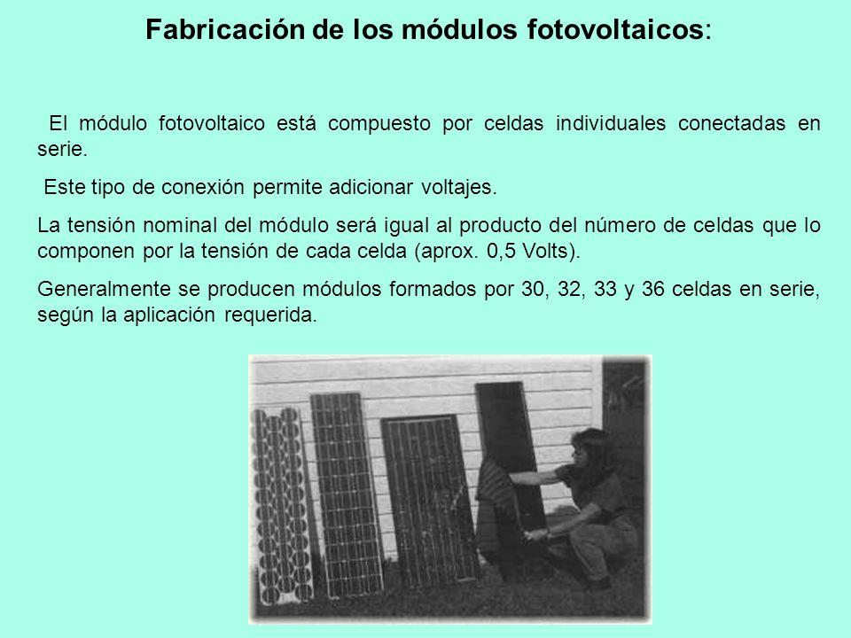 Fabricación de los módulos fotovoltaicos: El módulo fotovoltaico está compuesto por celdas individuales conectadas en serie. Este tipo de conexión per
